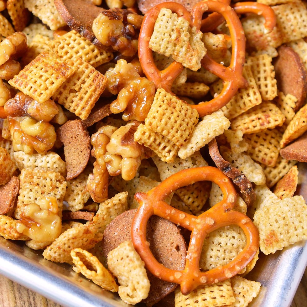 Your favorite snack just got tastier! This Sweet and Salty Chex Mix Recipe combines all your favorite Chex party mix ingredients with maple glazed nuts for a sweet surprise.