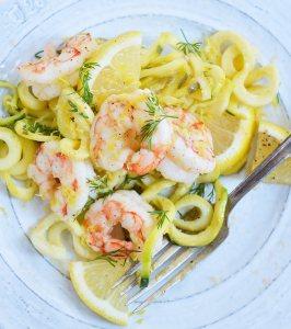 Lemon Dill Shrimp Zucchini Noodle Recipe (Whole30, Paleo)