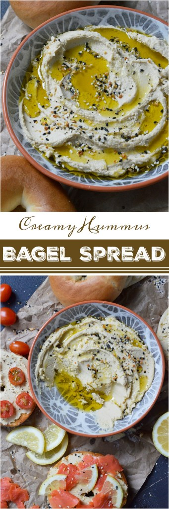 Are you looking for a new way to enjoy your morning bagel while cutting some fat and calories? This Creamy Hummus Bagel Spread Recipe brings a new twist to breakfast while replacing some of the cream cheese with high protein chickpeas! Top with Everything Bagel seasoning blend for the ultimate bagel flavor experience!