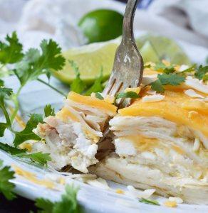 Green Chicken Enchilada Casserole