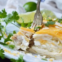 Green Chicken Enchilada Casserole