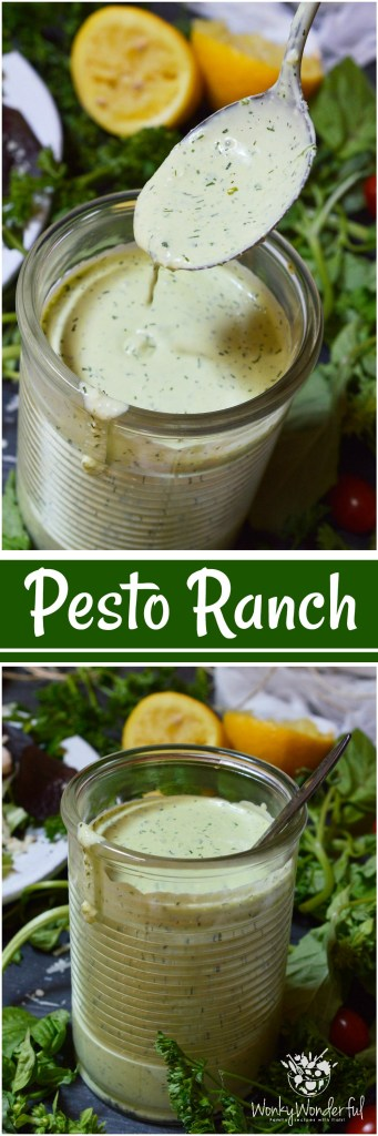 Homemade salad dressings are simple yet so much more flavorful than store bought. ThisPesto Ranch Dressing Recipe is no exception. Bright basil pesto flavors blended with buttermilk ranch. This is perfect on salads or served as a pizza dip!