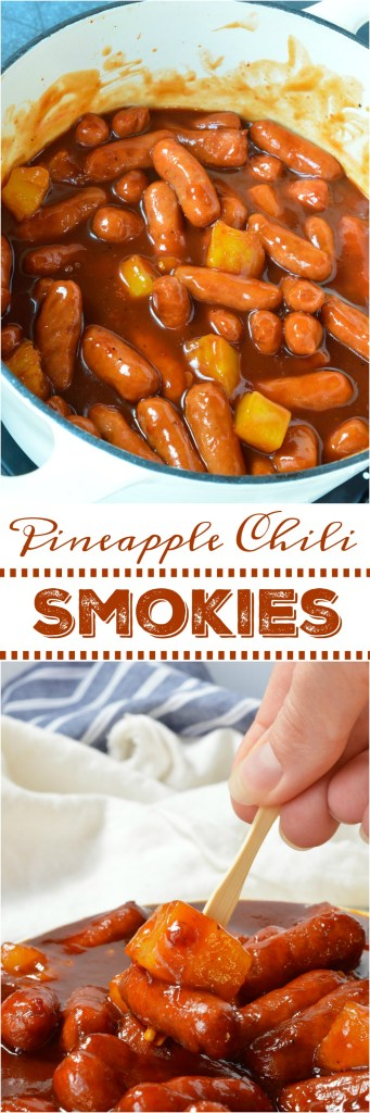 Do you need a quick and easy appetizer for the holidays or game day? This Spicy Pineapple Stovetop Little Smokies Recipe takes just 4 ingredients and is ready in less than 30 minutes! You will actually get to enjoy time with family and friends thanks to this sweet and spicy sausage recipe! #appetizer