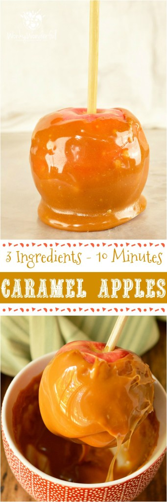 Make this favorite Fall dessert with just 3 ingredients in less than 15 minutes! ThisEasy Pumpkin Spiced Caramel Apples Recipe is great for Harvest festivals, holiday celebrations or as a Halloween treat. The kids can even help make this fun dessert! #halloween #pumpkinspice @wonkywonderful