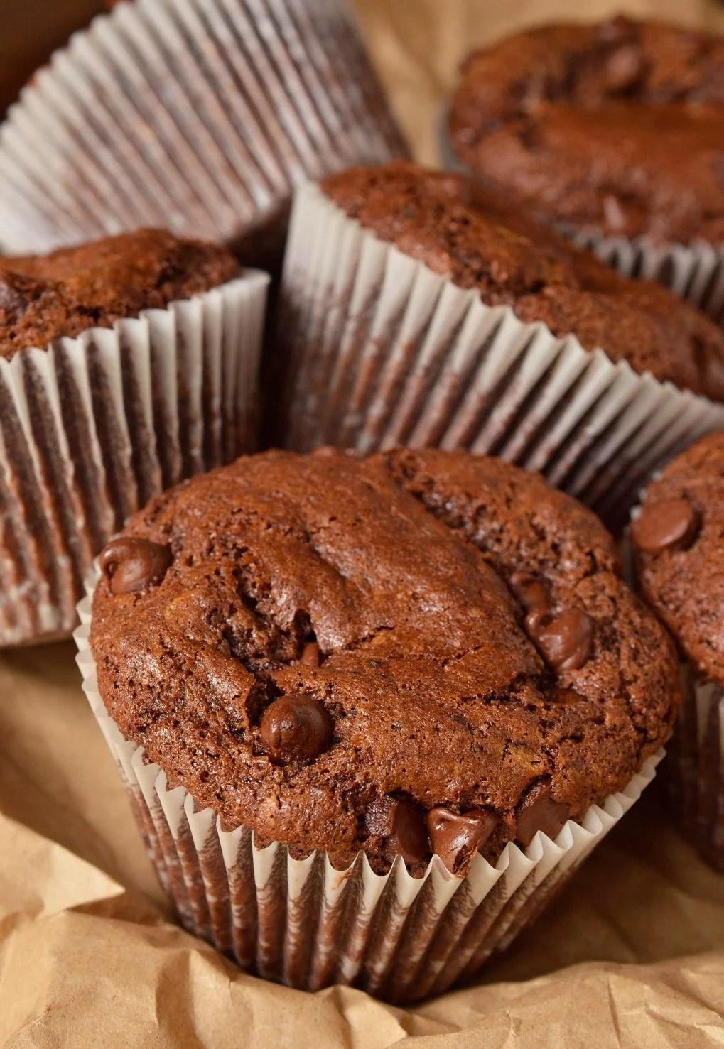 Double Chocolate Chip Muffins - WonkyWonderful