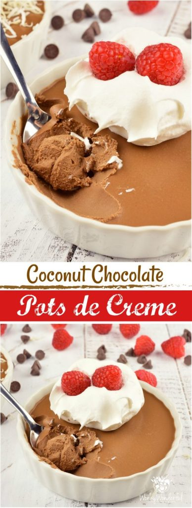 This Coconut Chocolate Pots de Creme Recipe is an elegant yet simple dessert. Perfect for the holidays, Valentine's Day or to satisfy an extreme chocolate craving! Made with just 5 ingredients, dairy-free and minimal effort, this creamy chocolate treat will be a show-stopper!