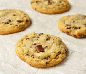 close up of soft cookie with chocolate chunks