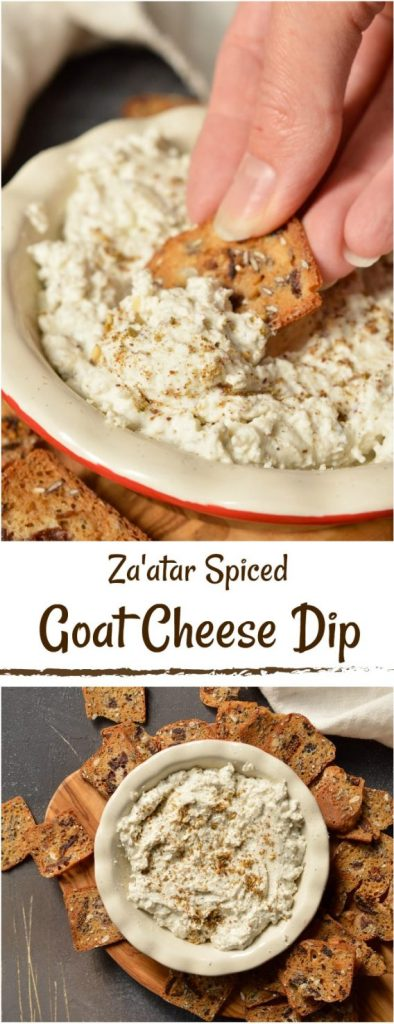 Looking for a unique appetizer to serve to guests? ThisZa'atar spicedGoat Cheese Dip Recipe is just 3 ingredients and crazy delicious! Great for holiday menus, game day snacks or potlucks. #appetizer #diprecipe #goatcheese