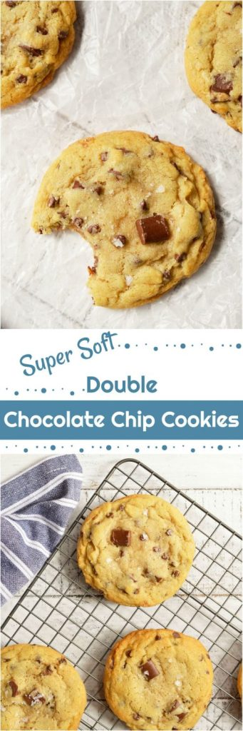 These Soft Chocolate Chip Cookies are my family's favorite treat! A special secret ingredient gives them a unique flavor and they are loaded with two types of chocolate chips! Also, this is a High Altitude Chocolate Chip Cookies Recipe. Soft, chewy, super-chocolaty and finished with a sprinkle of sea salt. #chocolatechipcookies #chocolatechipcookierecipes