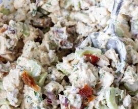 mixed chicken salad in clear glass bowl