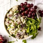 chicken salad with red grapes and chives
