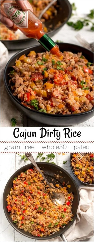 two photo collage with cajun dirty rice photos for pinterest