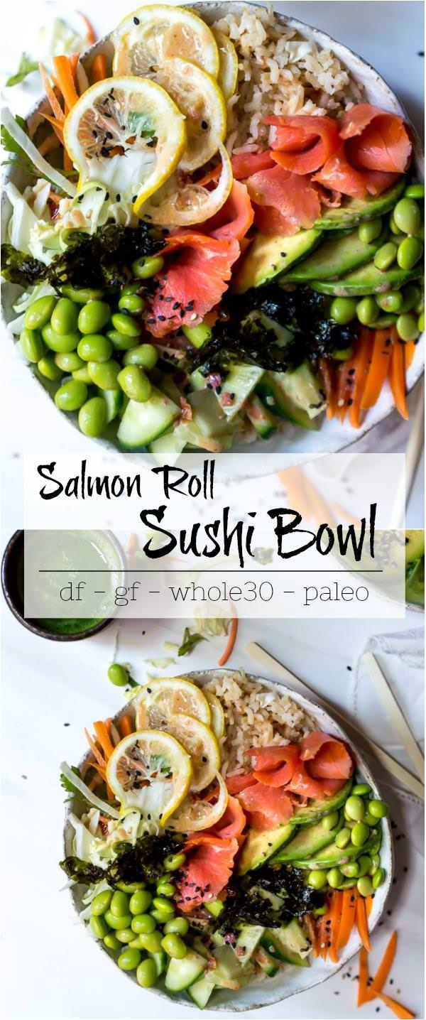 salmon sushi roll bowl photos