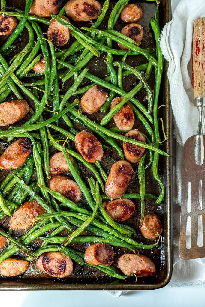 fresh green beans and sausage dinner on sheet pan