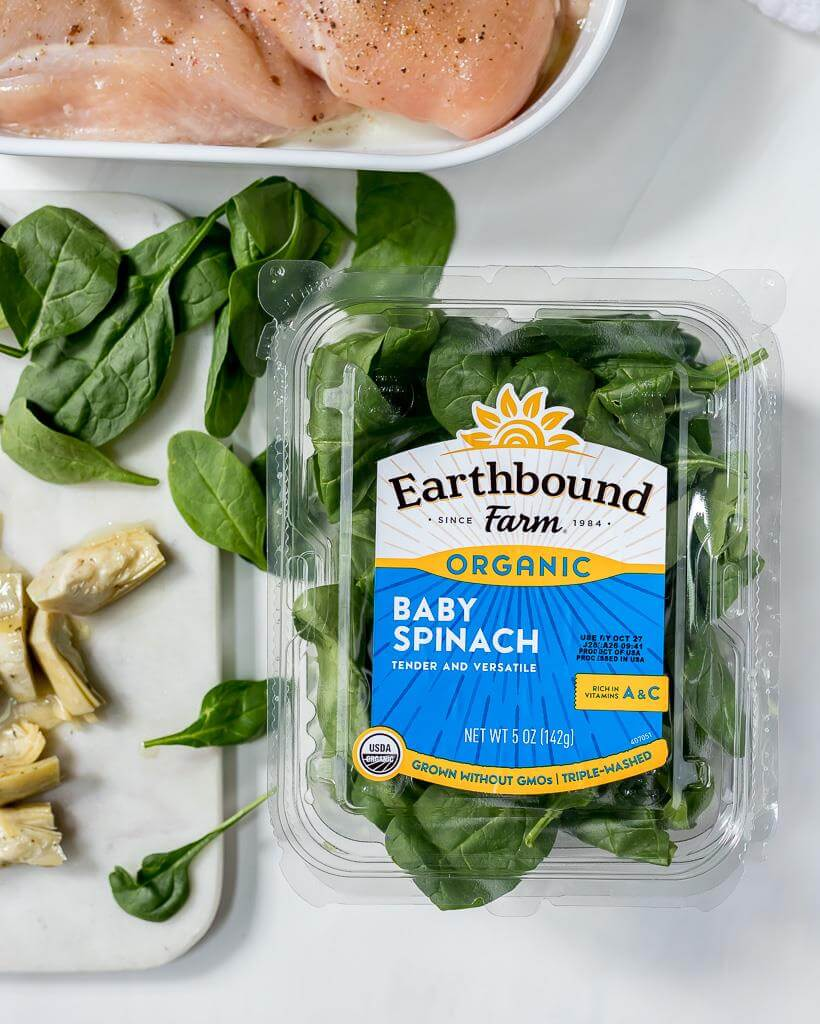 fresh baby spinach, artichoke hearts and raw chicken