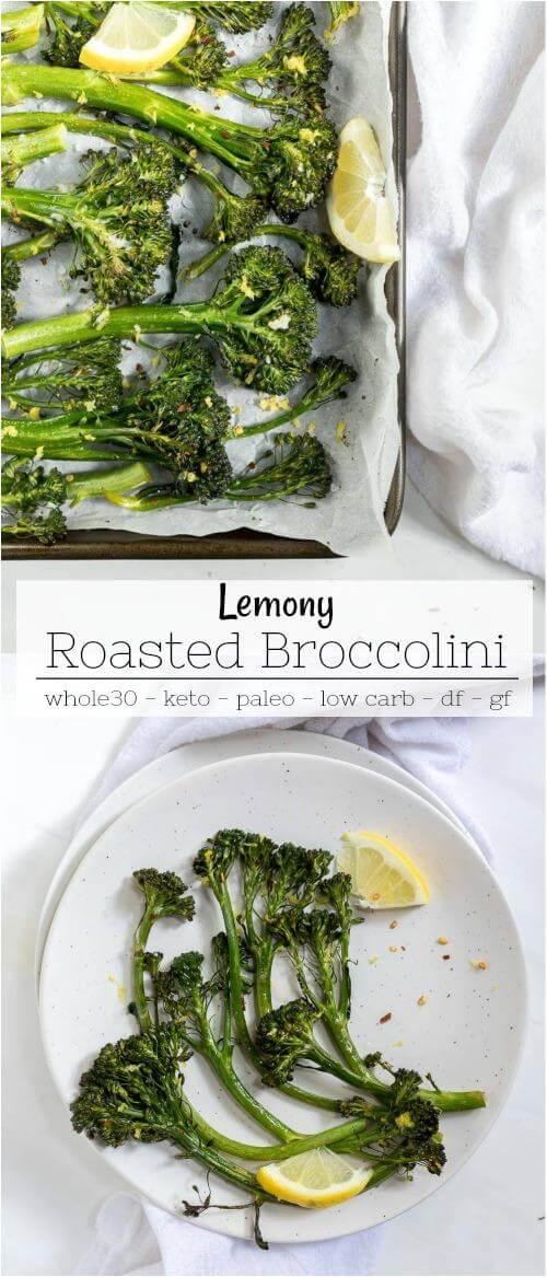 roasted broccolini recipe collage photo