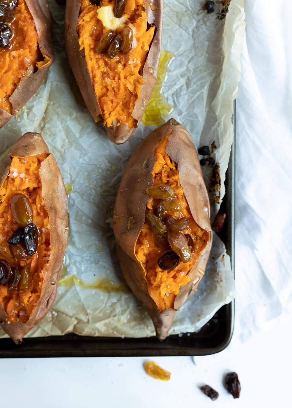 roasted sweet potatoes topped with honey raisins