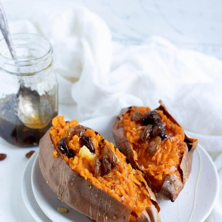Roasted Sweet Potatoes with Spiced Honey Raisins