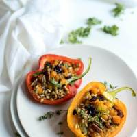 Butternut Squash & Kale Farro Salad Stuffed Peppers Recipe