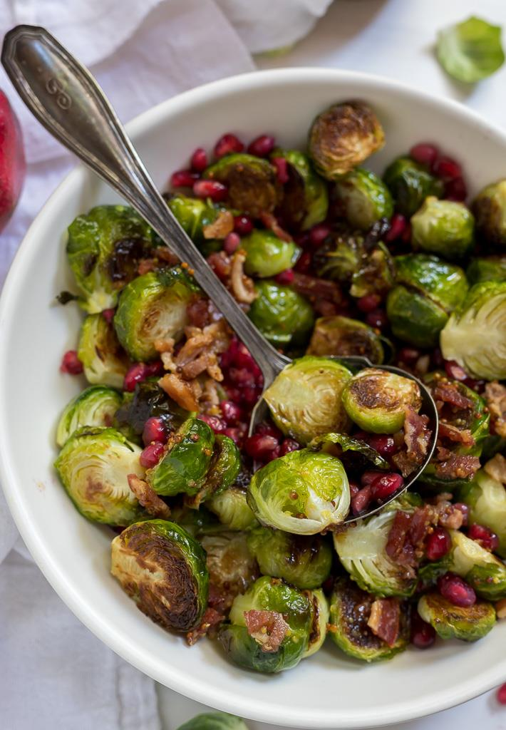 brussels sprouts tossed with Warm Bacon Dressing