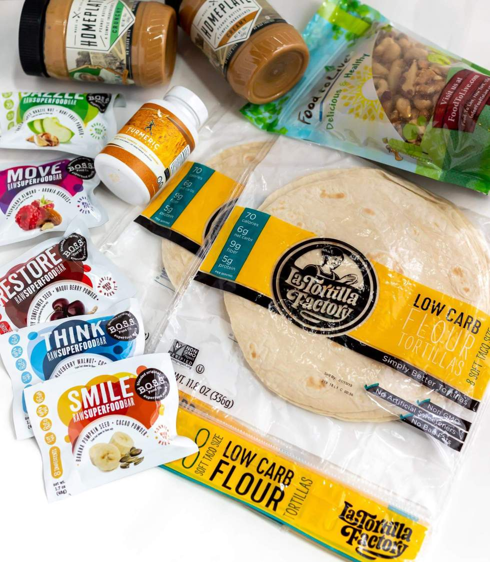 products ordered from The Marketplace: peanut butter, vitamins, tortillas, nuts and energy bars