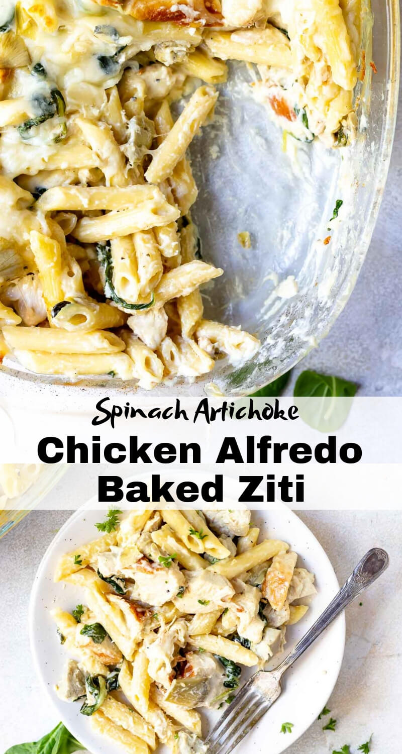 spinach artichoke chicken alfredo baked ziti recipe photo collage