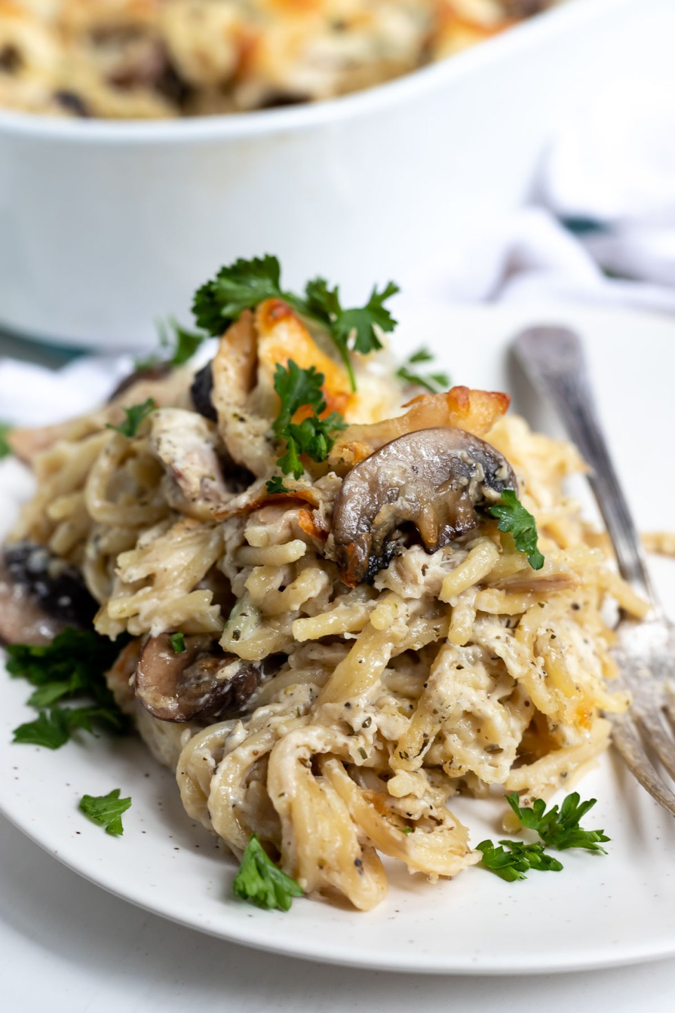 Chicken Tetrazzini Casserole served on a white plate and topped with fresh green parsley