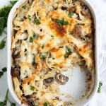 Chicken Tetrazzini in white casserole dish
