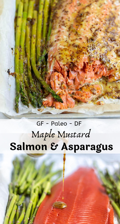 baked salmon asparagus sheet pan dinner recipe photo collage