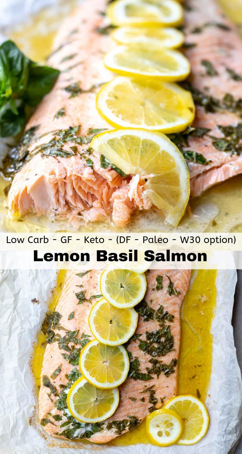 lemon basil salmon recipe photo collage