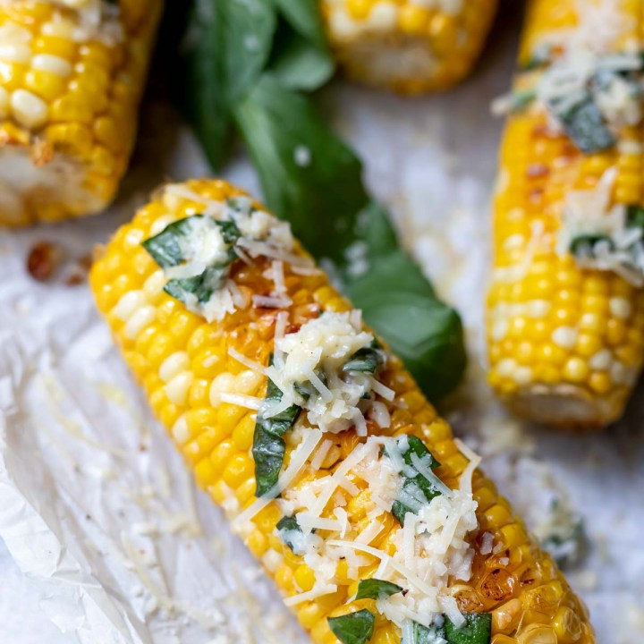 Roasted Corn on the Cob in Oven with Parmesan Basil Butter