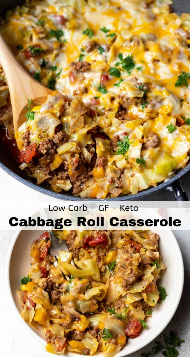 low carb unstuffed cabbage casserole recipe photo collage