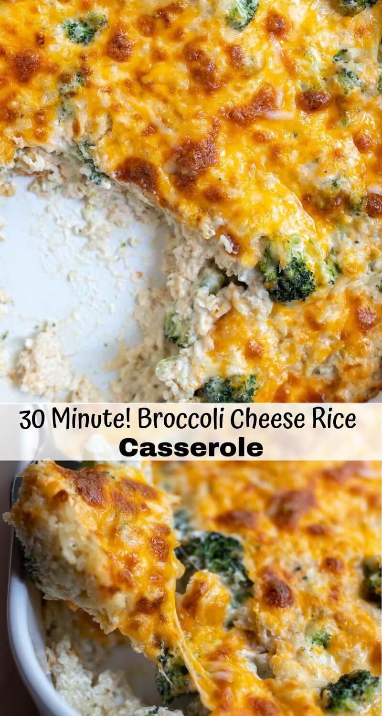 broccoli cheese rice casserole recipe photo collage