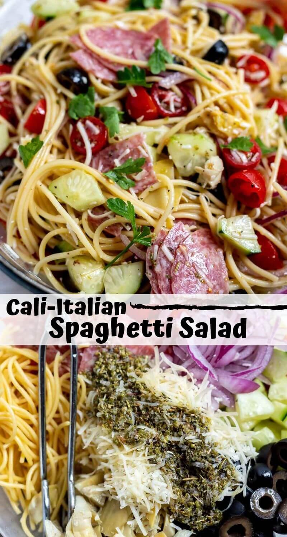 cold spaghetti salad recipe photo collage