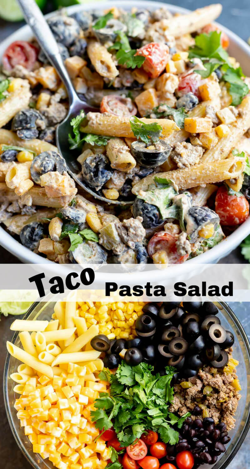 taco pasta salad recipe photo collage
