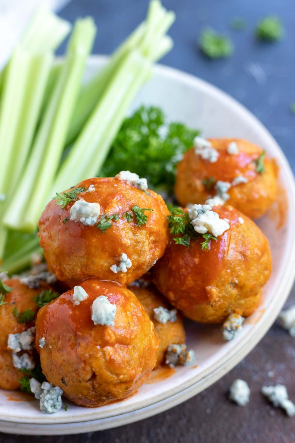 chicken meatballs in white dish