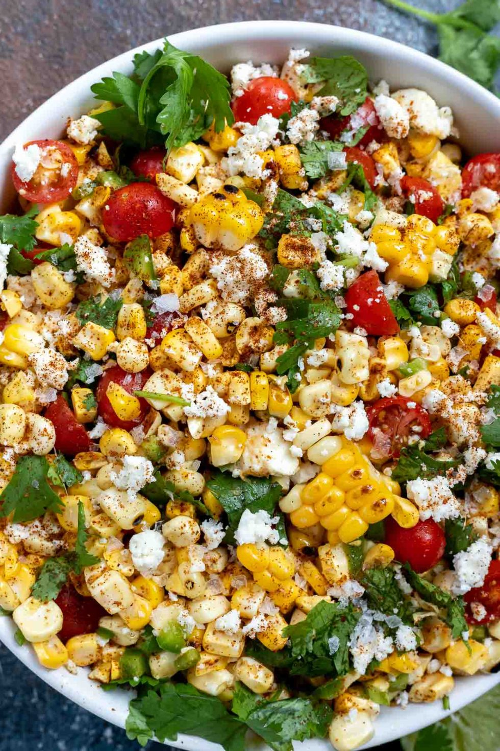 corn salad with tomatoes and fresh cilantro
