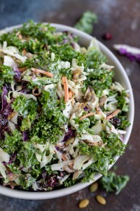 creamy kale salad coleslaw in white bowl