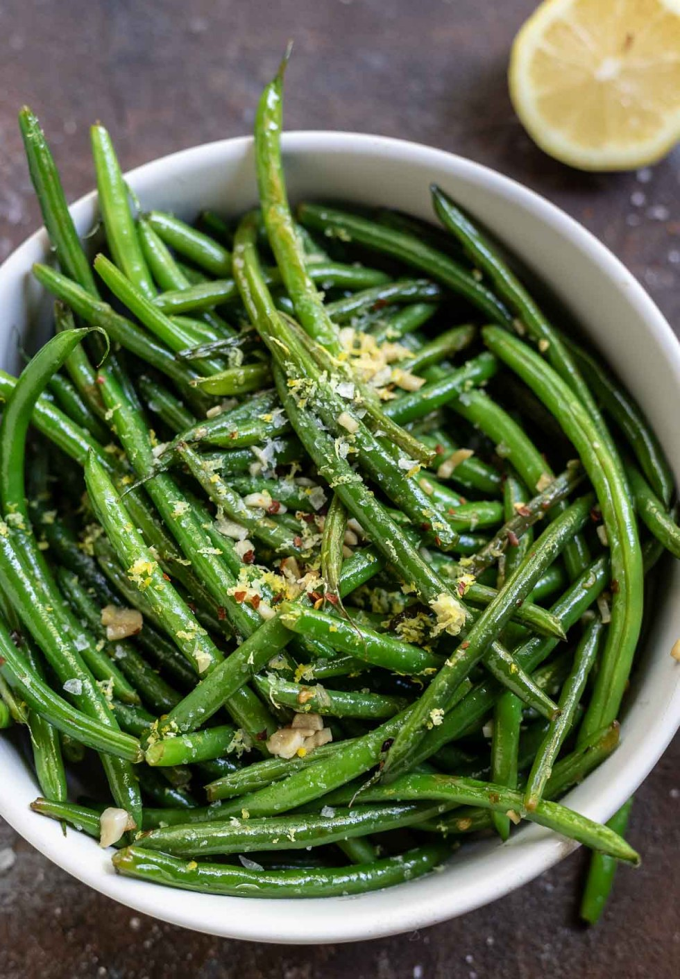 green beans in white serving dish