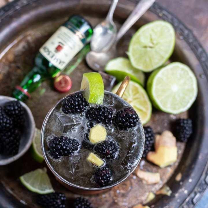 Blackberry Ginger Whiskey Mule Drink