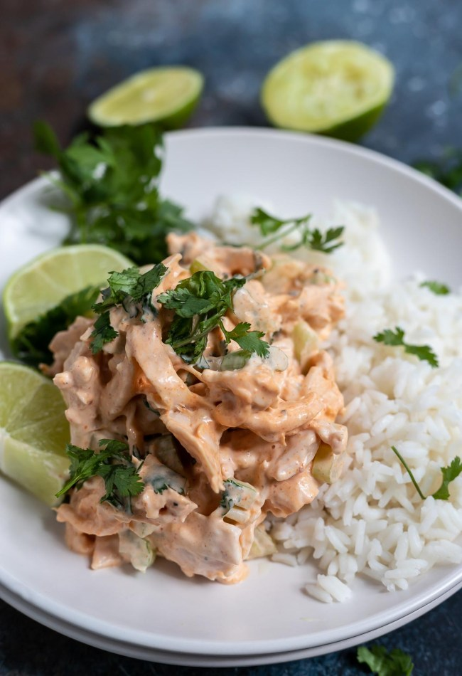 red curry chicken topped with cilantro over white rice