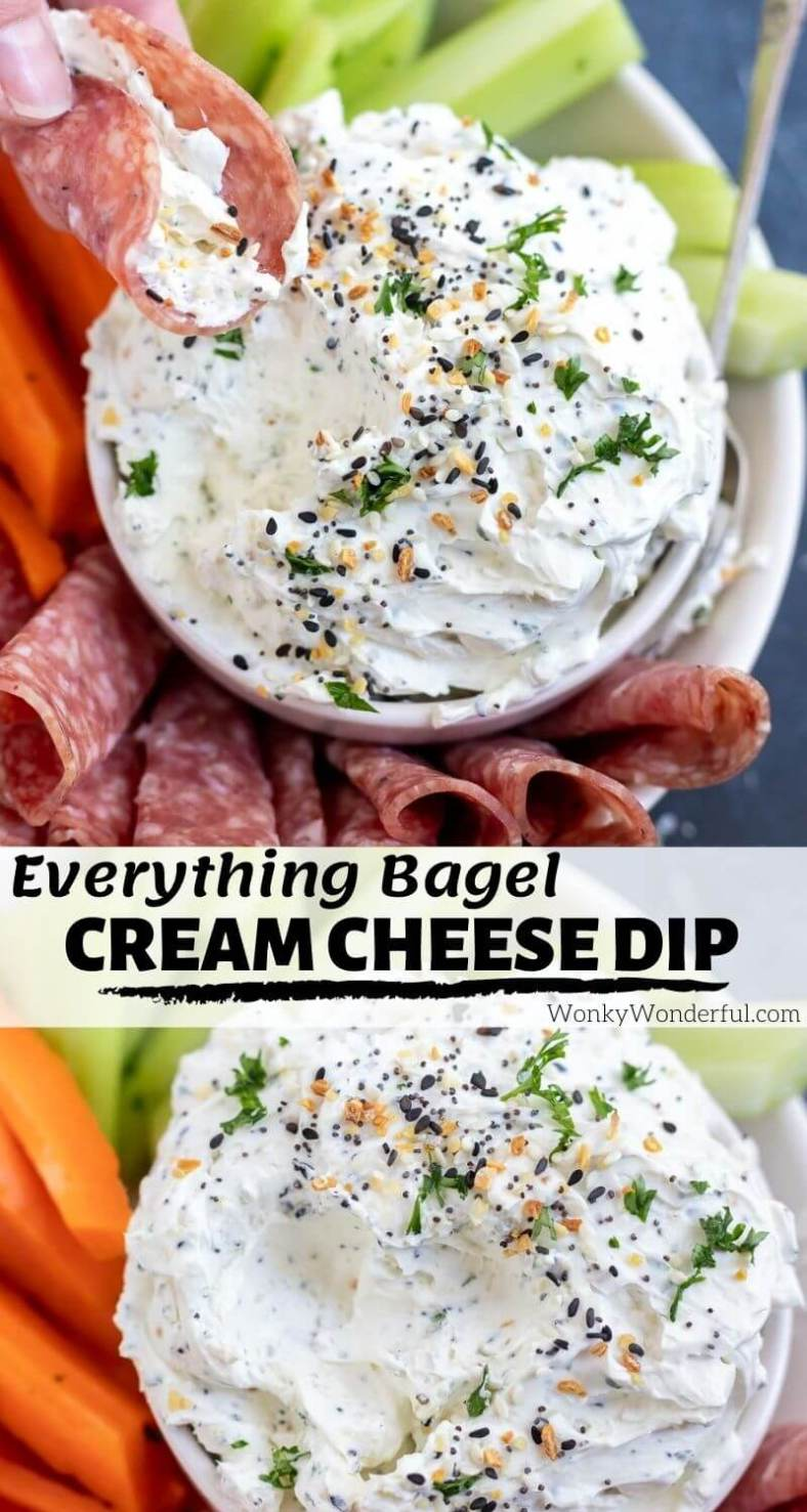 everything bagel cream cheese dip pinnable image with title text