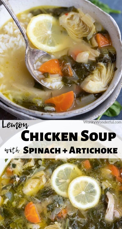 artichoke spinach chicken soup photo collage