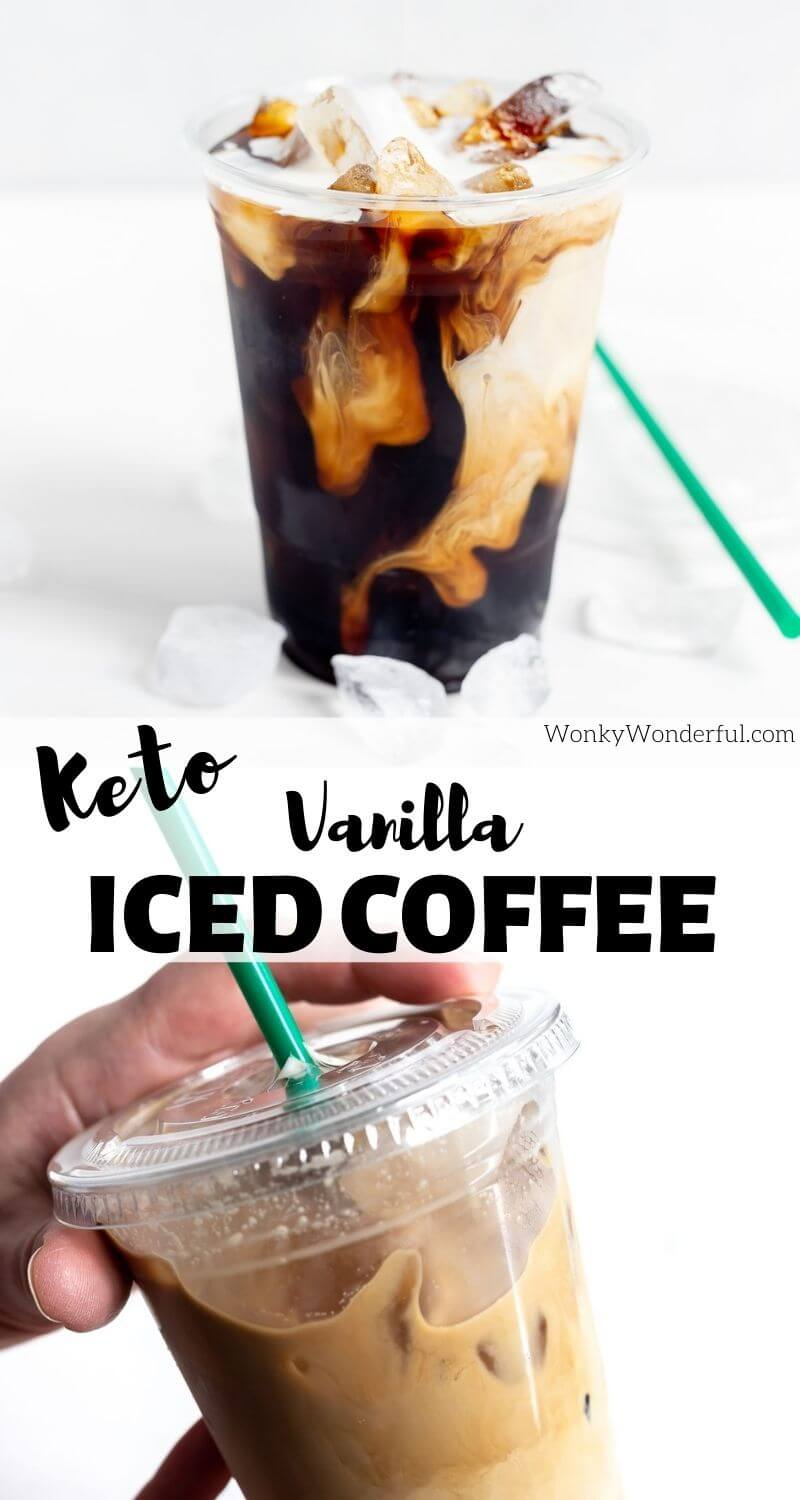 keto iced coffee pinnable image with title text