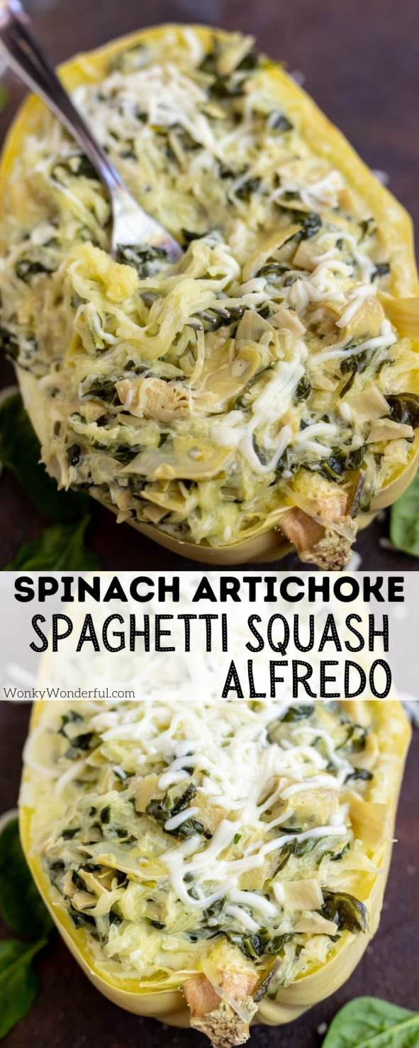 spaghetti squash Alfredo pinnable image with title text