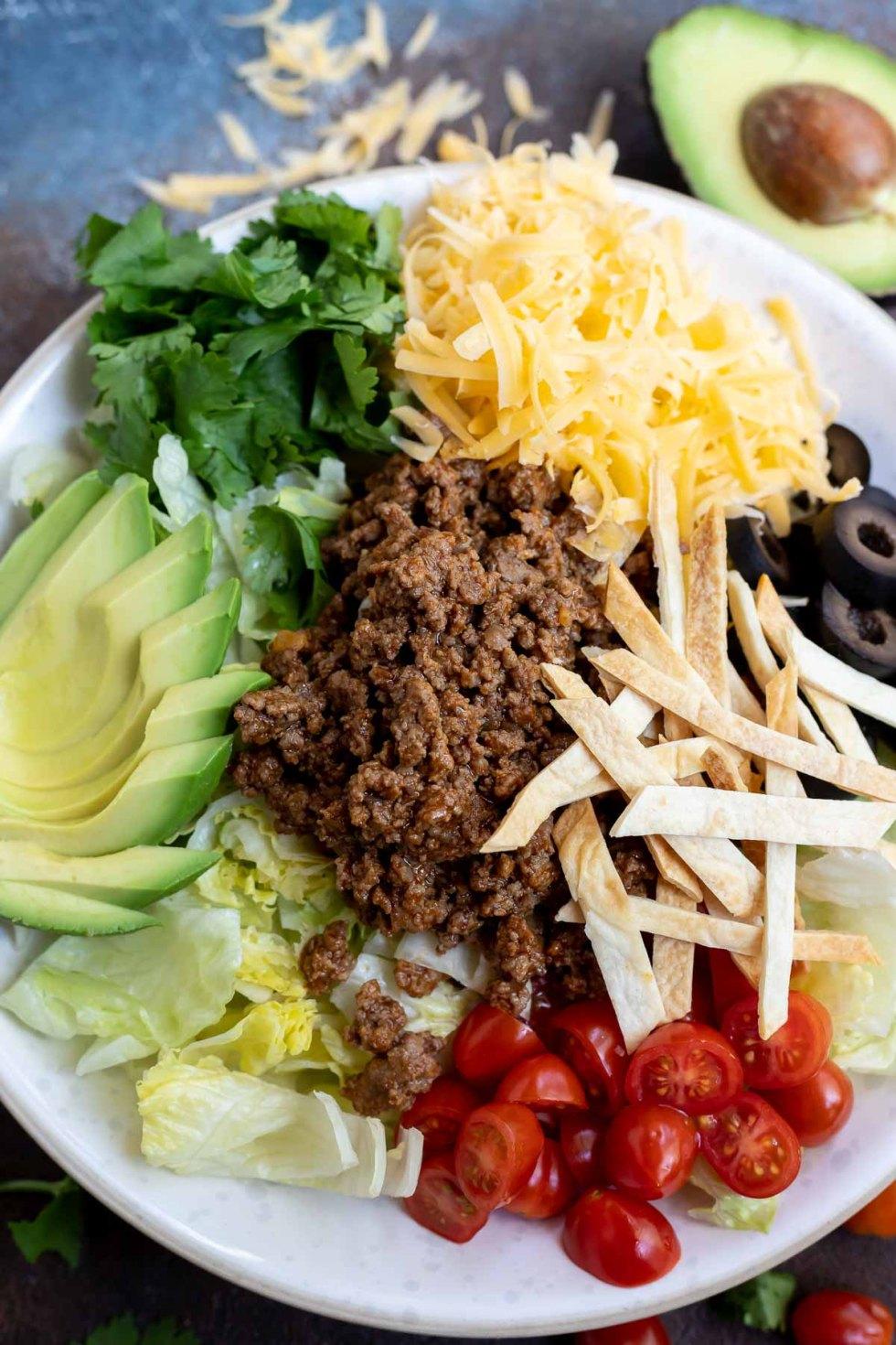 taco salad ingredients not yet mixed