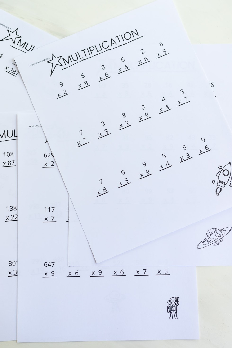 photo of printed multiplication pages