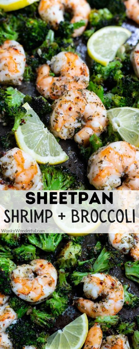 sheet pan shrimp and broccoli pinnable image with title text
