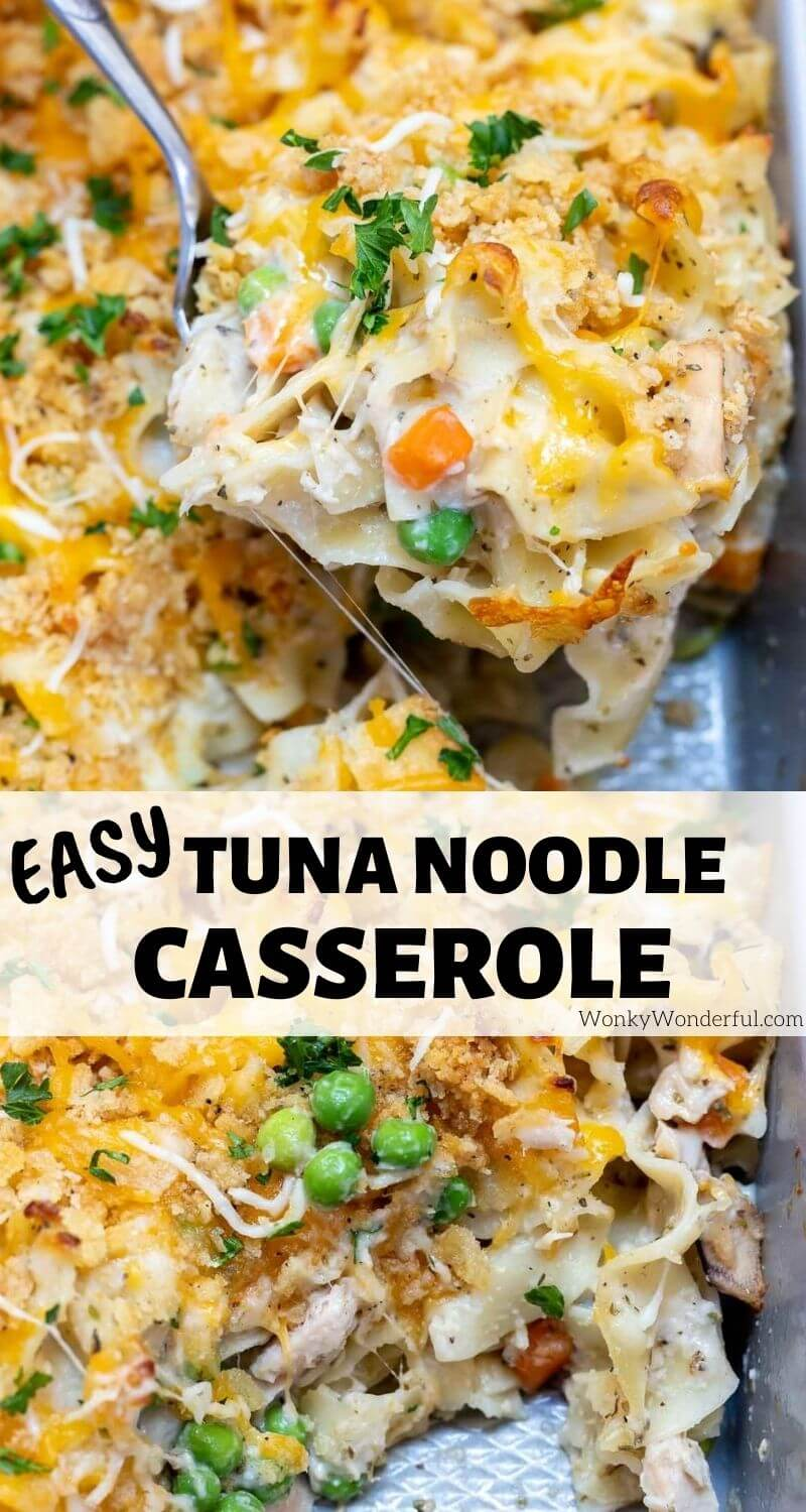 easy tuna noodle casserole pinnable photo collage with recipe title text