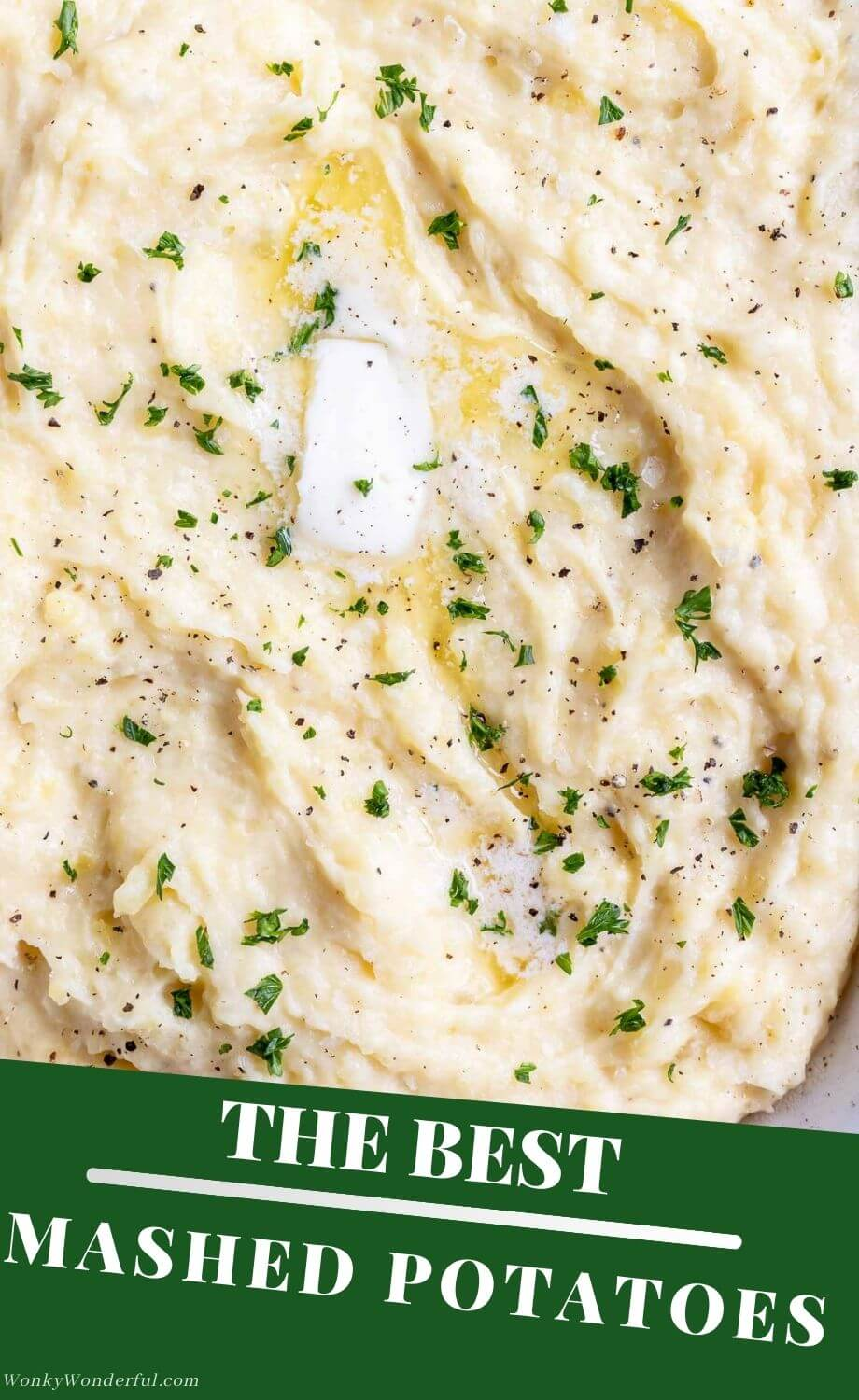 easy Yukon gold mashed potatoes pinnable photo collage with recipe title text